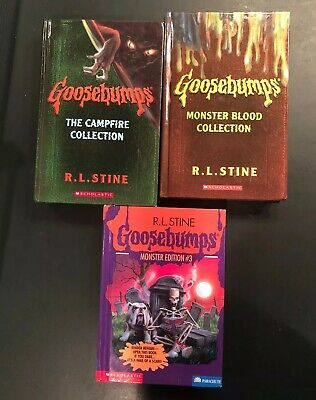3 HARDCOVER GOOSEBUMPS BOOKS MONSTER BLOOD CAMPFIRE COLLECTION RL Stine