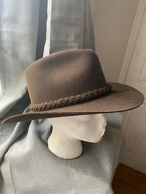 Vintage Brown Mallory By Stetson Brown Wool Western Hat Size 7 1/4