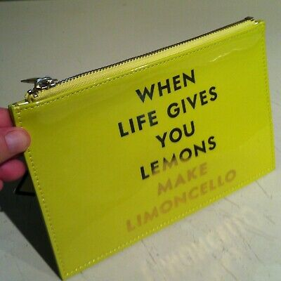 Kate Spade Pouch When Life Gives You Lemons Make Limoncello Makeup Toiletry Bag