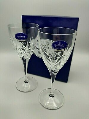 "Set of 2 Boxed Royal Doulton Crystal  Hellene Pattern 7 ""  Wine Glasses"