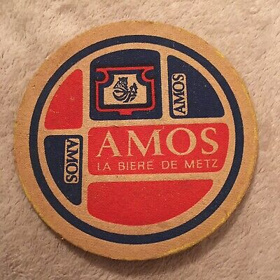 Amos French Beer Vintage 50s 60s Bar Coaster from East Germany German