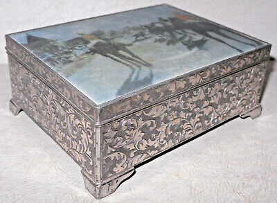 VTG SILVER PLATE ORNATE REPOUSSE CIGARETTE/TRINKET MUSIC BOX Horse Racing Lid