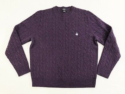 Brooks Brothers Mens 100% Lambs Wool Cable Knit Crew Neck Sweater Purple Size M