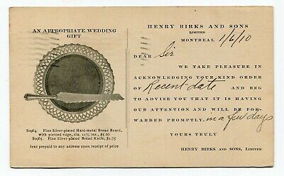 Canada Stationery - QC Montreal 1910 Henry Birks & Sons Silver - Advert Postcard