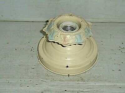 Vintage Antique Pressed Tin Ceiling Wall Flush Mount Light Porcelain Pull String