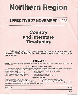 1988 NSW Northern & Southern Regions Country Timetables