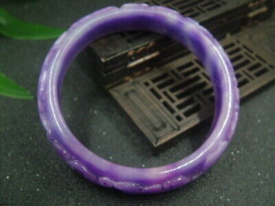 "Antique Chinese Celadon Nephrite-Lavender jade bangle bracelet""RU YI"""