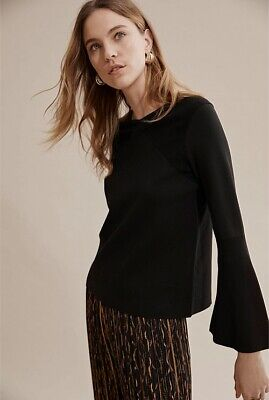 Country Road Trenery Trapeze Sleeve Knitted Milano Sweater Jumper XXS 4 Black