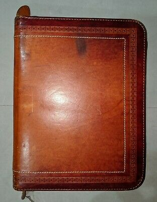 """Vintage DAY TIMER tooled leather planner - 7 ring - distressed - 10.5"""" x 8"""""""