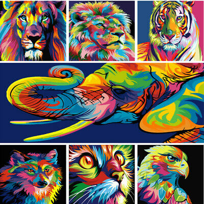 DIY Paint By Number Acrylic Oil Painting On Canvas Colorful Animals Family Games