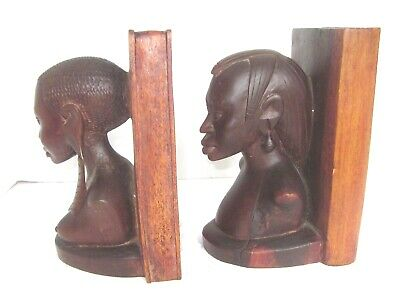 "Tribal Bookends Vintage Hand Carved African Man Woman Book Ends  Wood 8"" Tall"