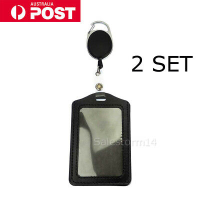 2 Retractable Lanyard ID Badge Opal Card Holder Business Security Pass SYD STOCK