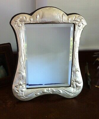 Vintage Sterling Silver Art Nouveau Style Mirror Hallmarked Bevelled Glass