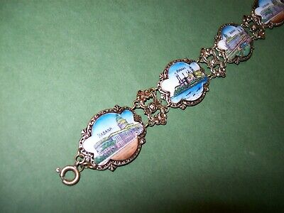 Vintage Antique Czech Enameled Travel Souvenir Bracelet Habana