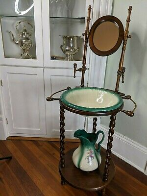Antique Victorian Turn of the Century Wash Basin w/Mirror, Bowl and Pitcher