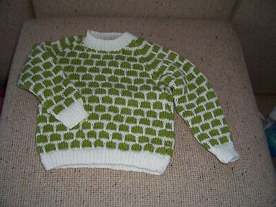 New Hand Knitted Jumper  Olive Green & Cream 3- 4 Years Approx