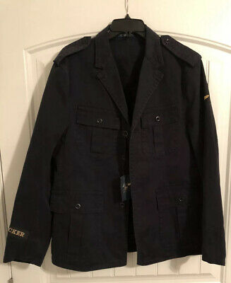 $285 Polo Ralph Lauren PRL Bleecker Navy Cotton Military Style Jacket Size Large