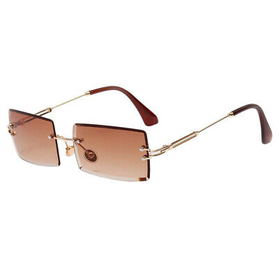 Womens Rectangle Cut Rimless Sunglasses Party Tinted Lens Eyewear Coffee