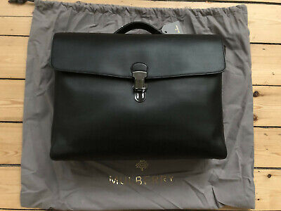 """Mulberry """"Oxton"""" Black Leather Briefcase. Bnwt And Dust Bag. £1100."""