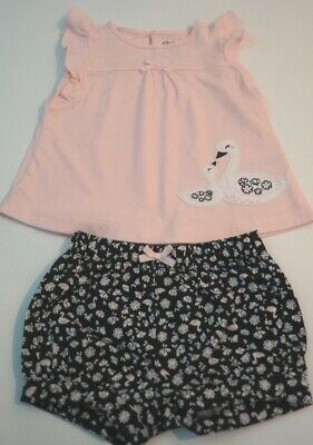 Child of Mine Baby Girls 3-6 mo Shirt and Bubble Pants with Swans - Cute!