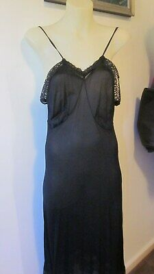 40.s/50,s orig.vint. black rayon underslip/petticoat in lovely style with black