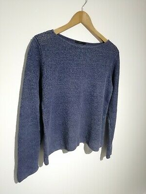 Cos Size S Uk 10 Blue Knitted Linen Jumper Long Sleeve Casual