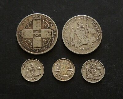 Mixed Silver Coins Gothic Florin 1913 Florin,Threepence (3) Coin Free Registered