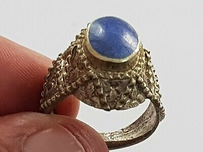 Superb Scarce Roman Silver Ring Lapis Lazuli Stone Intaglio 8,4 Gr 20 Mm
