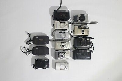 Lot of 13 Point & Shoot Film Cameras 35mm for Parts Olympus Samsung Yashica