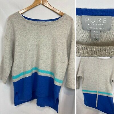 Pure Collection 100% Cashmere Jumper Size Medium Grey & Blue 3/4 Length Sleeve