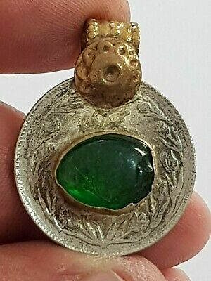 SUPERB 17-18th CENTURY ISLAMIC SILVER PENDANT WITH RARE STONE 10 GR 35MM