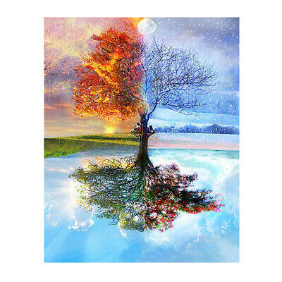 DIY Frameless Oil Painting By Numbers Kit Craft Paint On Canvas Spring Scenery