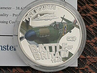"2010 Guernsey Silver Proof £5 ""Battle of Britain - Hawker Hurricane"" with COA"