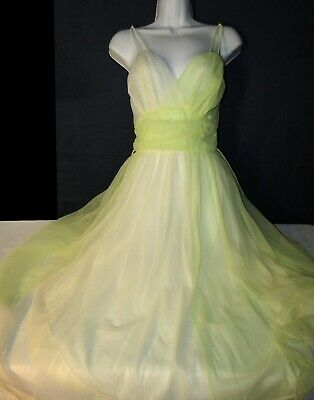 RARE Yellow Double Sheer Nightgown Gown Dress Vanity Fair Sz 34 Vintage