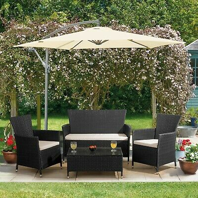 Garden 4pc Rattan Furniture Set Outdoor Patio Conservatory Sofa Chairs - GRADE A