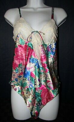 Vintage Victoria Secret Gold Label Floral Satin Camisole flutter Panties poly