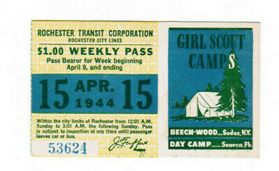 Rochester New York Transit Ticket Pass April 15 1944 Girl Scout Camp Beechwood
