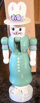 Terry's Village Female Bunny Rabbit Wooden Nutcracker Easter