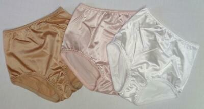 Vanity Fair Vtg Panty Shapers 3 Pr Size 5/S~Shiny Glossy White Pink Gold