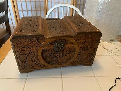 Large Asian Boat Theme Hand Carved Wooden Box Vintage Antique