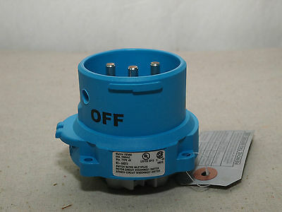 Meltric Corporation 63-68072 Inlet/Plug DSN60,60A 250V 2P+E, 3HP Type 4X – NEW