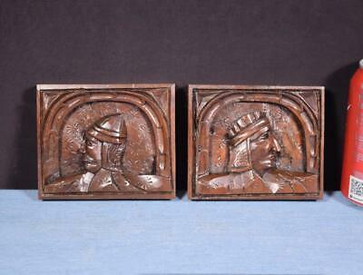 *Pair of French Antique Solid Walnut Figure Panels Salvage Trim