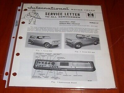 1965 Ih International Harvester New Scout 800 Service Letter Ihc