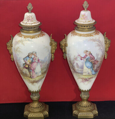 "Pair Antique French Sevres Urns Romantic 17"" Tall"
