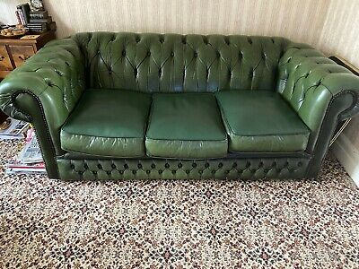 Two Antique Victorian Style Green Leather Chesterfield 3 Seater Sofa