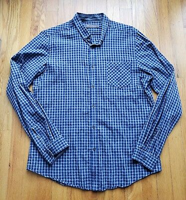 Ben Sherman Check plaid Long Sleeve button down Shirt M Blue Gray