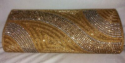 Womens Diamante Gold Sequin Evening Shimmer Clutch Bag