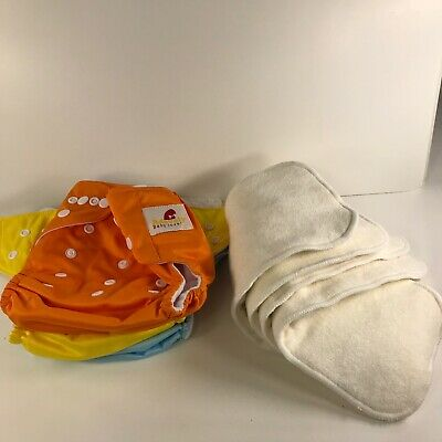 Reusable Baby Cloth Diapers Lot Of 3 Adovely With Inserts Adjustable Snap