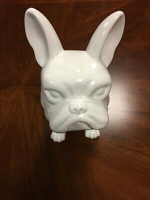 "FRENCH BULLDOG Statue WHITE CERAMIC 9"" Tall ~High Quality~"