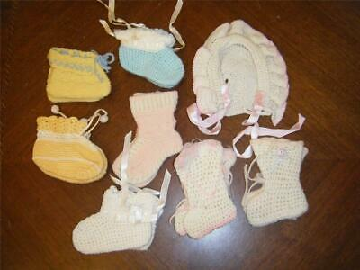 Lot of 7 Pairs Vintage Hand Knit Crocheted Baby Booties + 1 Hat Bonnet